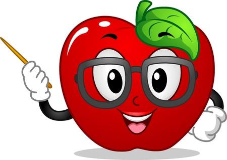 manzana: Mascot ilustraci�n que ofrece una ense�anza de Apple Foto de archivo