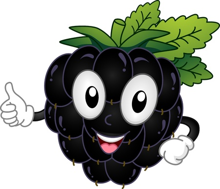 fruit cartoon: Mascot Illustration Featuring a Blackberry Doing a Thumbs Up