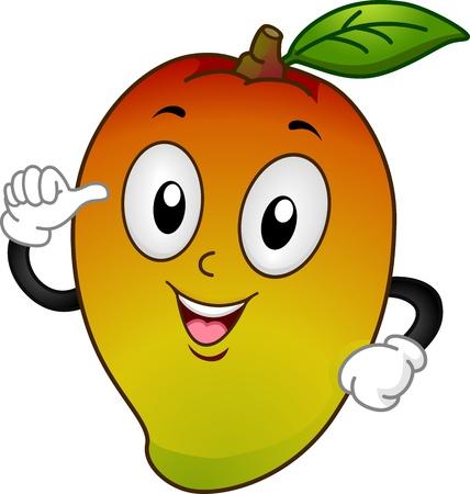 mango fruta: Ilustración Mascot Con un mango apuntando a si mismo Foto de archivo