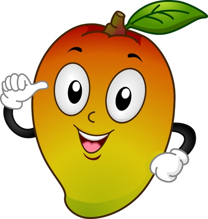 diet cartoon: Mascot Illustration Featuring a Mango Pointing to Itself