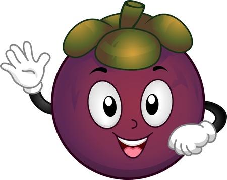 mangosteen: Mascot Illustration Featuring a Mangosteen Waving