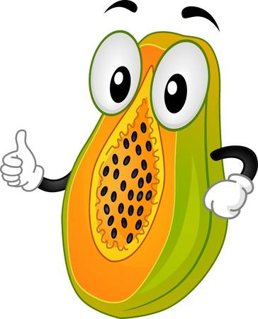 papaya: Mascot Illustration Với một Papaya Làm một Thumbs Up