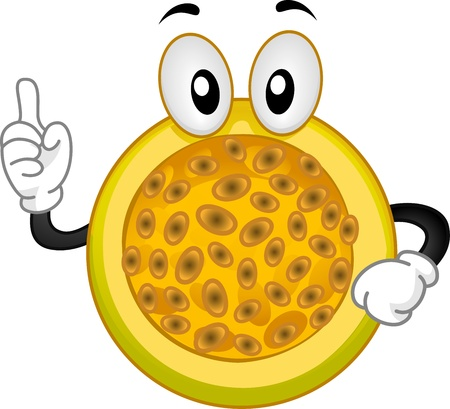 Mascot Illustration Featuring a Passion Fruit with its Index Finger Raised illustration
