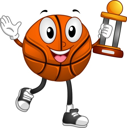 Mascot Illustration Featuring a Basketball Carrying a Trophy illustration