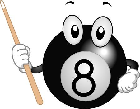 bola ocho: Mascot ilustración que ofrece una bola de billar con un palo Cue