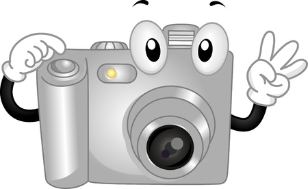 photo shoot: Mascot Illustration Featuring a Digital Camera Making a Pose