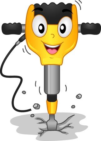 Pre�lufthammer: Mascot Illustration Mit einem Jackhammer Lizenzfreie Bilder