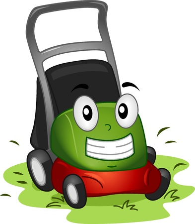 Mascot Illustration Featuring a Lawnmower at Work illustration