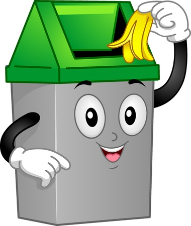 banaan cartoon: Mascot illustratie die een Trash Can Discarding een Banana Peel