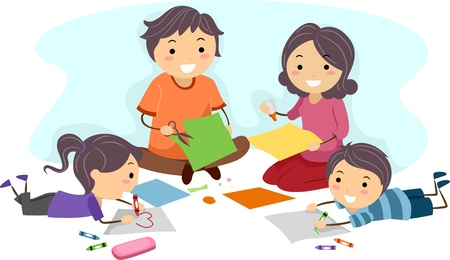 Illustration of a Family Making Paper Crafts Together illustration