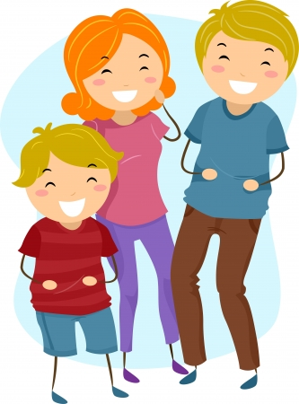 Illustration of a Family Laughing Heartily illustration