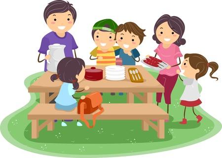 familia comiendo: Ilustración de una familia teniendo un picnic