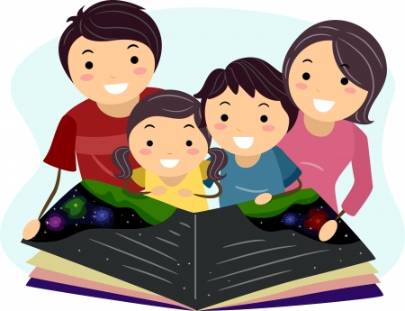 storytime: Illustration of a Family Reading a Book Together Stock Photo