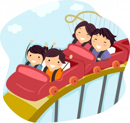 amusement park ride: Illustration of a Family Riding a Roller Coaster Together Stock Photo