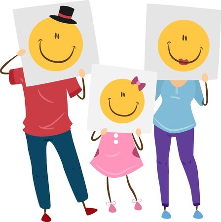 Illustration of a Family Holding Posters with Smiley Faces in Front of Their Faces illustration