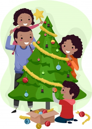 Illustration of a Family Decorating a Christmas Tree Together illustration