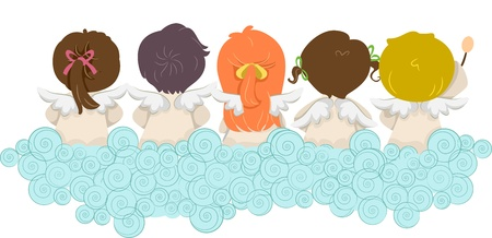 Illustration of Kids Dressed as Angels with Their Backs Turned illustration