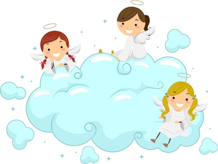 angel cartoon: Illustration of Little Angels Sitting Playfully on Clouds