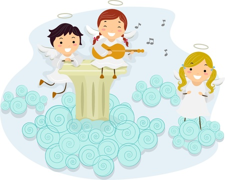 children of heaven: Illustration of An Angel Playing the Guitar While Other Angels Sing Along