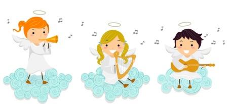 arpa: Ilustraci�n de Little Angels Singing durante la reproducci�n de instrumentos musicales Foto de archivo