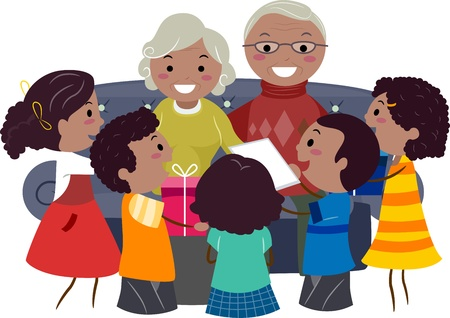 Illustration of Kids Giving Presents to Their Grandparents illustration