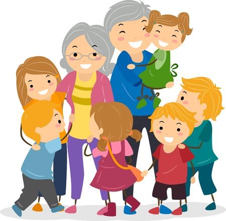 abuela: Ilustración de los niños tratando de captar la atención de sus abuelos Foto de archivo