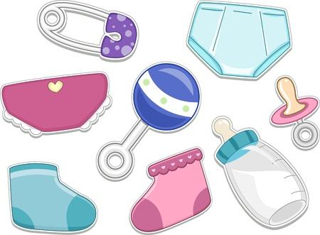 pacifier: Ilustraciones de los productos para bebés que se pueden imprimir como etiquetas engomadas