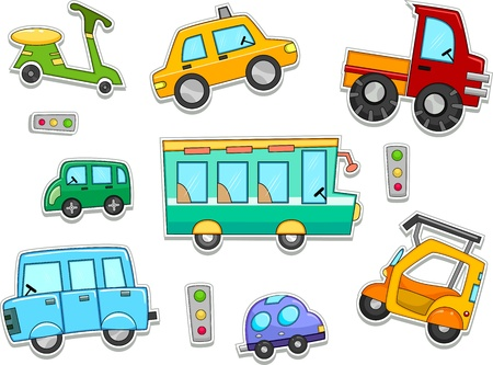 Illustration of Land Vehicles That Can be Printed Out as Stickers illustration