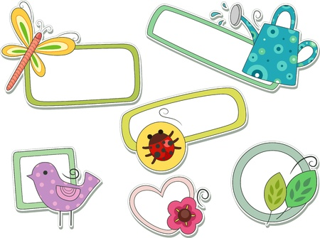 flower clip art: Illustrations of Plants and Animals That Can be Printed Out as Stickers and Used as Labels