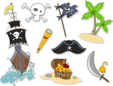 Illustration of Pirate-Related Items That Can be Printed Out as Stickers illustration