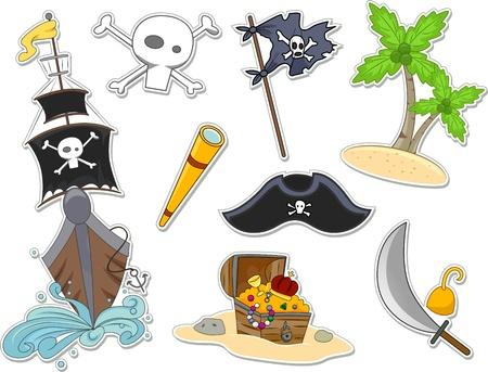 barco pirata: Ilustración del pirata relacionados con elementos que se pueden imprimir en forma de pegatinas