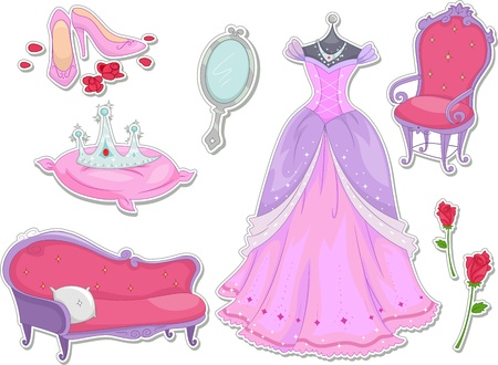 princess dress: Illustration of Royalty Items That Can be Printed Out as Stickers