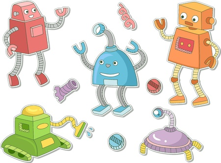 techie: Illustration of Robots That Can be Printed Out as Stickers Stock Photo