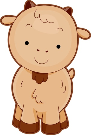 baby goat: Illustration of a Cute Goat Smiling Contentedly