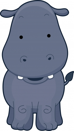 exposed: Illustration of a Cute Hippopotamus Beaming Happily with its Teeth Exposed Stock Photo