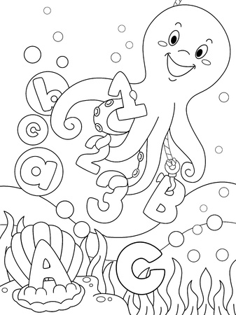 reading material: Illustration Featuring an Underwater Coloring Page That Can be Colored