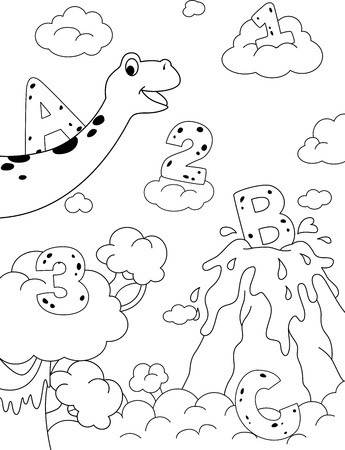 Illustration of Dinosaurs and a Prehistoric Jungle That Can be Colored illustration
