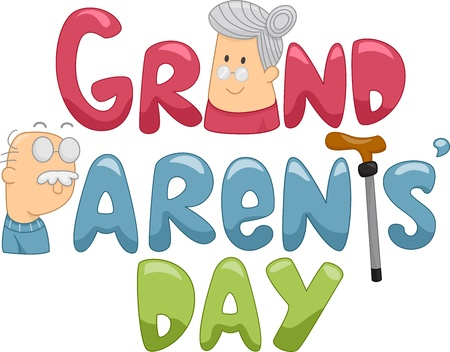 grandparents: Illustration of a Grandmother and a Grandfather Beside a Text That Says Grandparents Day