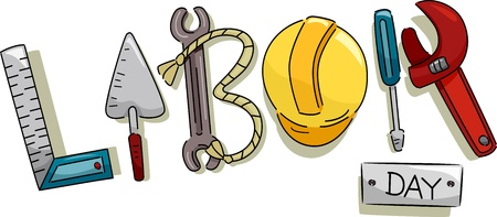 skilled labour: Text Illustration Featuring Construction Tools That Represent Labor Day Stock Photo