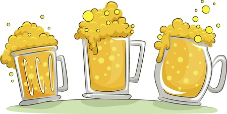 overflowing: Illustration of Beer Mugs Overflowing with Froth