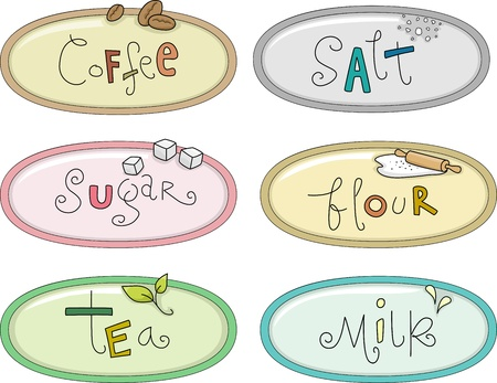 identifiers: Illustration Featuring Canister Labels  for Coffee, Salt, Sugar, Flour, Tea, and Milk Stock Photo