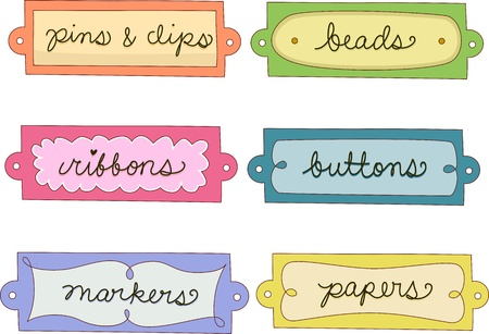 identifiers: Illustration Featuring Labels for Crafts Materials