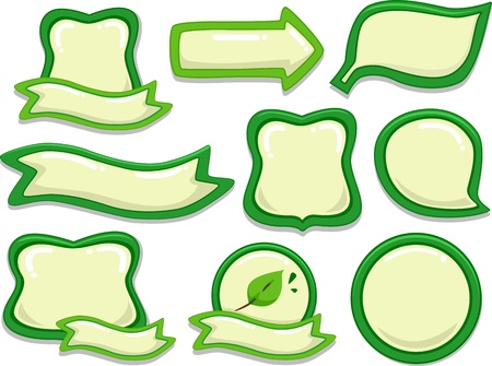 identifiers: Illustration Featuring Blank Stickers with an Eco-friendly Theme