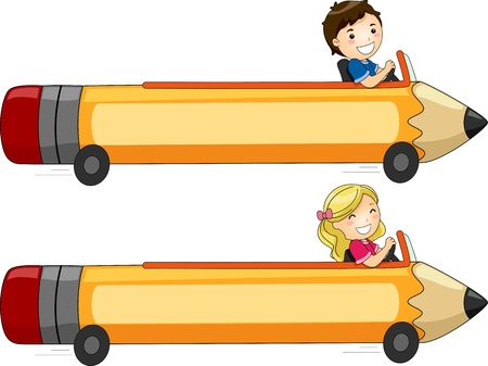playtime: Banner Illustration Featuring Kids Driving a Pencil-Shaped Car Stock Photo
