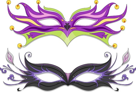mardi gras: Illustration Featuring Fancy Masquerade Masks