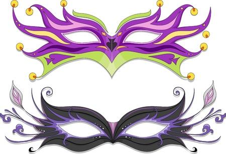 masquerade masks: Illustration Featuring Fancy Masquerade Masks