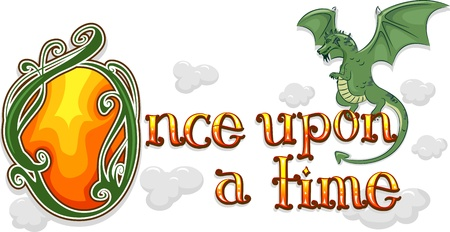 once: Text Illustration Featuring the Words Once Upon a Time with a Dragon Beside it Stock Photo