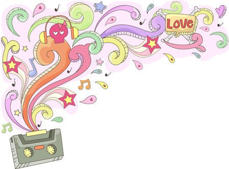 casette: Doodle Illustration Featuring a Casette Tape Spouting Colorful Swirls