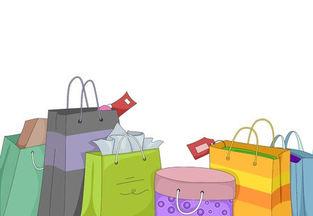 retail therapy: Illustration Featuring Shopping Bags Filled with Different Items