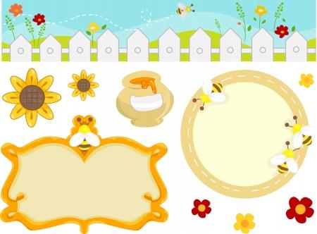 wesp: Illustratie Met Bee Verwante Ontwerp Elementen, waaronder een Border en Frames Stockfoto